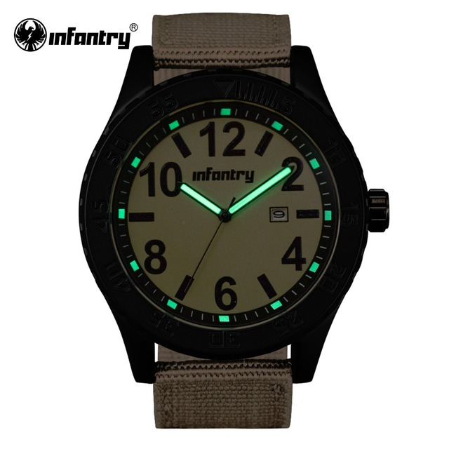 INFANTRY Men Military Quartz-watches Men's Durable Brown Fabric Strap Sports Relogio Masculino With High Quality Water Resistant