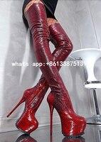 Women Python Gladiator Knee High Boots Red Wine Platform Zipper Over Knee Booty HIgh Heel Slim