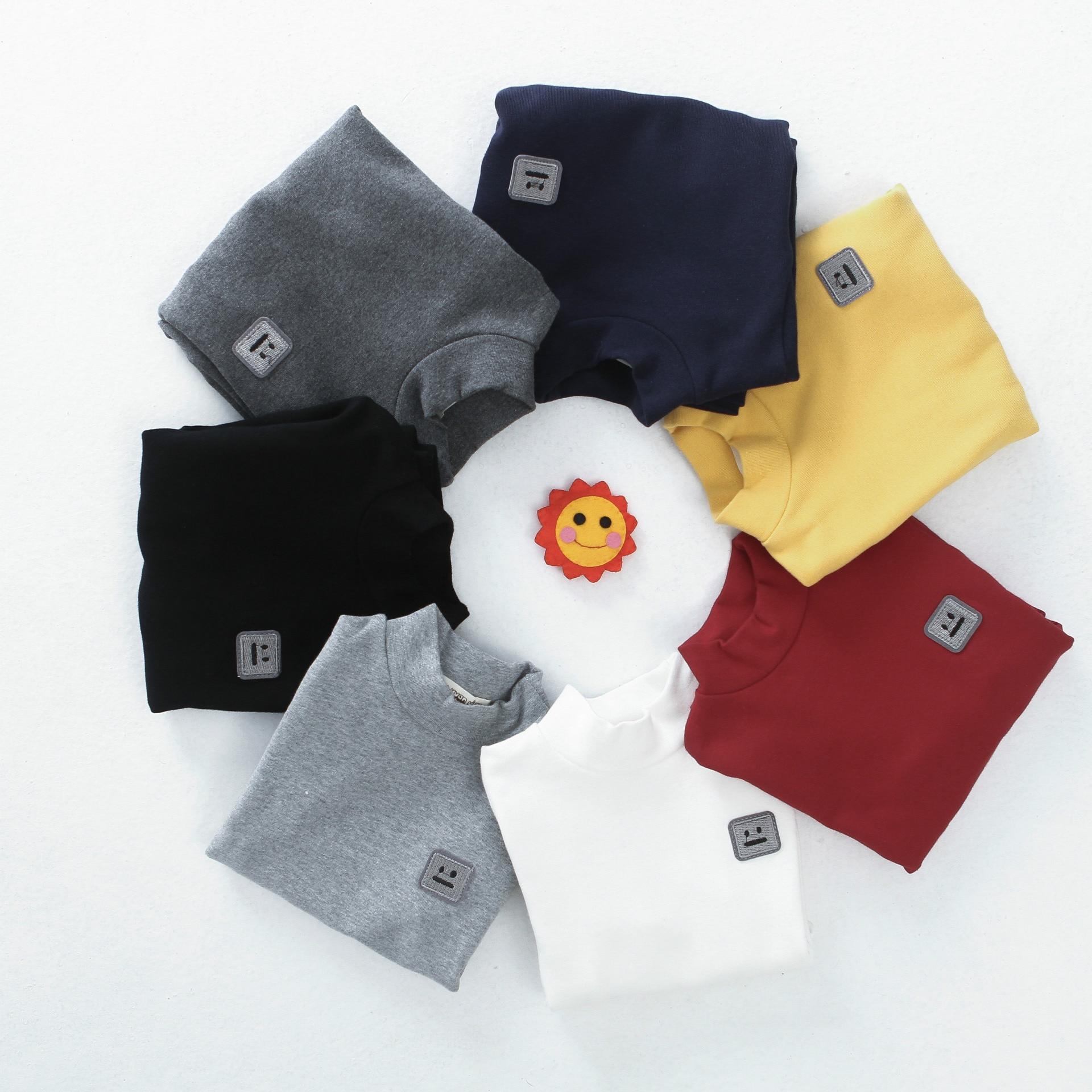 kids girl and boy Tshirts winter subcoating children cotton wool all-match long sleeved shirt children Bottoming shirt 3-12yrs
