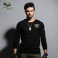 Autumn military male T shirt black o neck long sleeve slim 100% cotton clothes T shirt