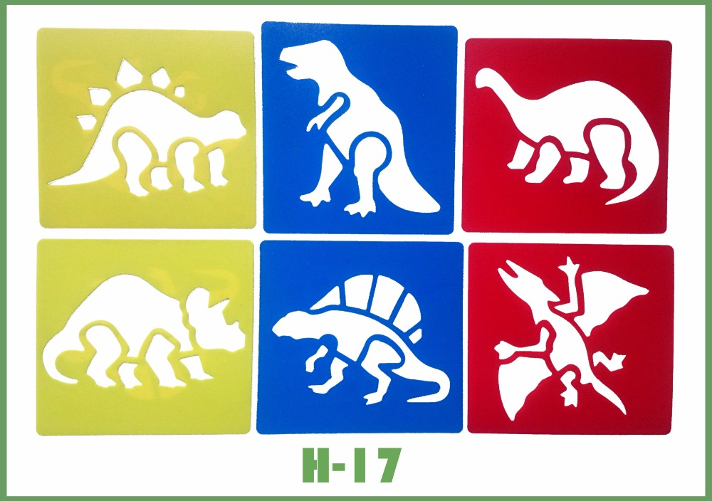 6pcs/set Dinosaur Stencils Suit Children's Painting Template Kids Drafting Stencil Gift