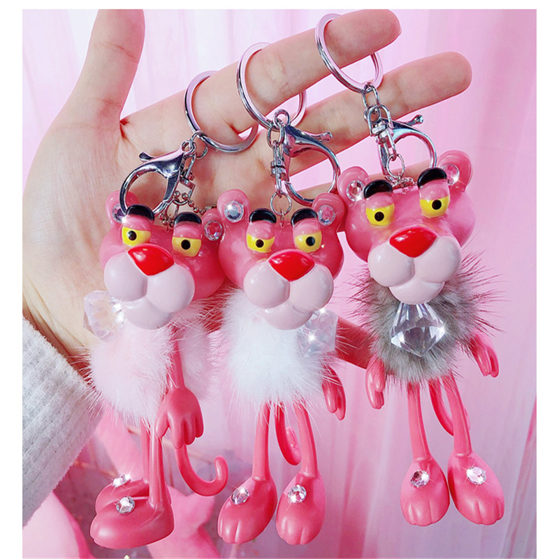 Cartoon Cute Animal Anime Pink Panther Key chains Rabbit  Pom Pom Key Rings Bells Key Chains Women Car Bag Charms Pendant