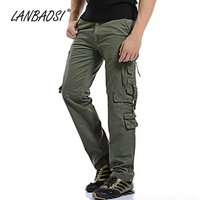 LANBAOSI Men's Outdoor Pants Cotton Army Military Multi-pocket Slim Fit Cargo Pant Hiking Climbing Hunting Traveling Trousers