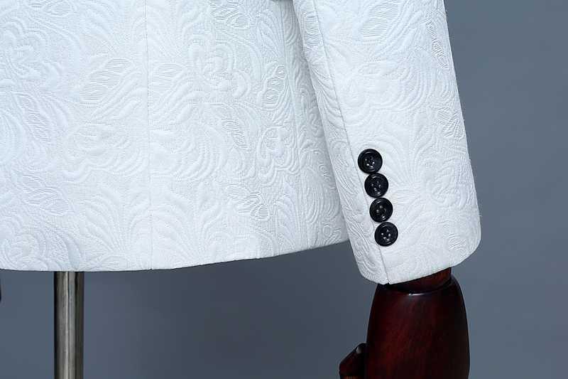 メンズビッグショールラペル花ジャカード 3 個のスーツ (ジャケット + ベスト + パンツ) 2019 ブランド新白結婚式新郎ウェディングタキシードスーツ男性 2XL