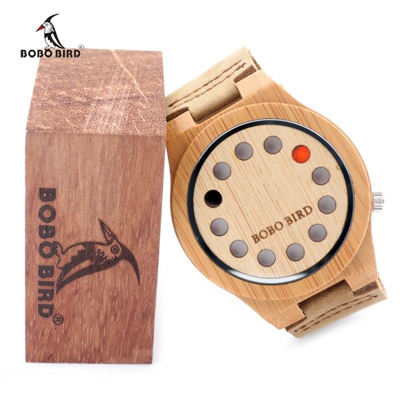 BOBO BIRD Designer Bamboo Face Watch Men Clock Quartz Genuine Leather Wristwatch Drop Shipping B-A04 мягкая игрушка promise a nw113501 bobo 35cm