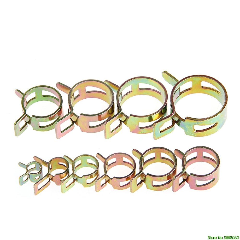 Fashion New 100Pcs 6-22mm Spring Clip Fuel Line Hose Water Pipe Air Tube Clamps Fastener