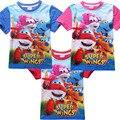 2016 verano ropa de los muchachos embroma la camiseta de las tapas superwings camiseta niños de manga corta ropa niños camiseta infantil menino