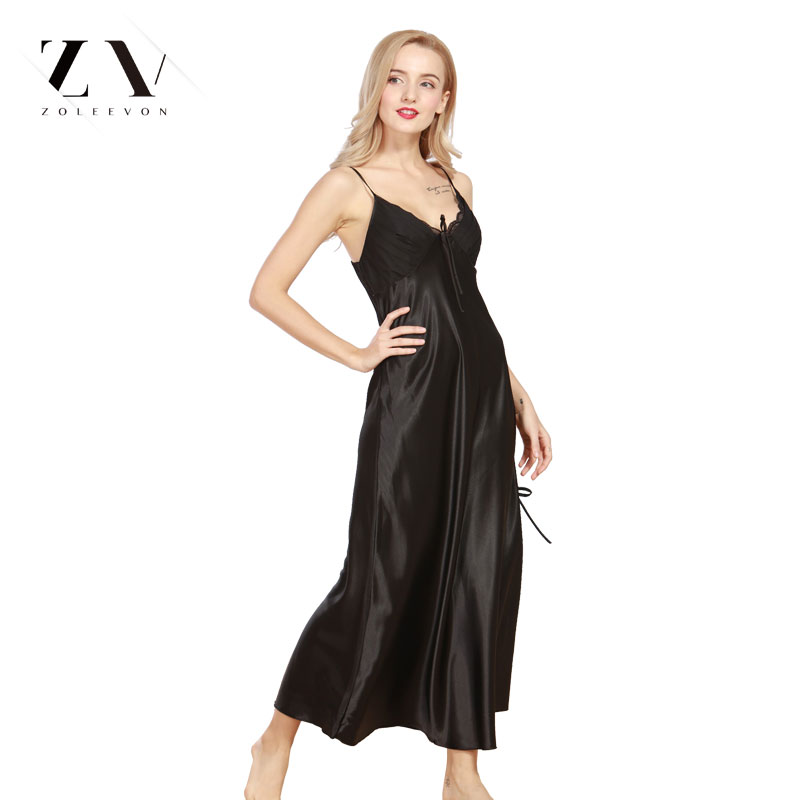 Sexy Nightgown Satin Robe Lingerie Nightdress V-Neck Home Dress bridesmaid long robe Silk sleepwear for women