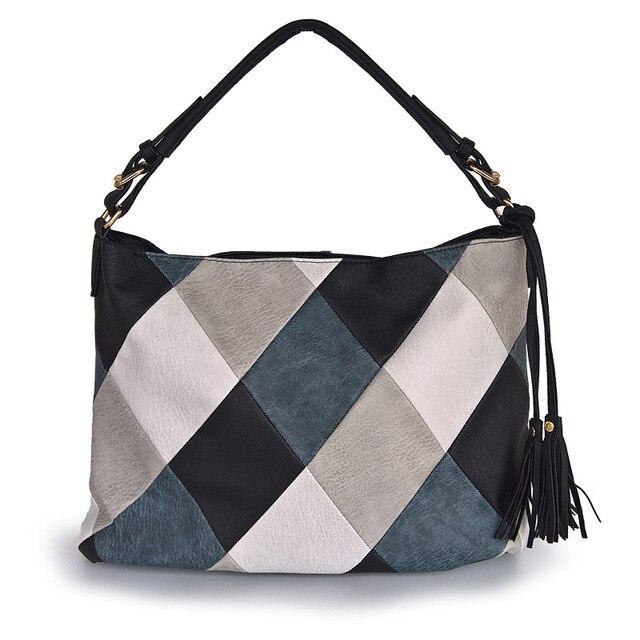 حقيبة يد فاخرة للنساء حقائب مصمم عادية حمل حقائب كتف للنساء 2020 المرقعة السيدات حقيبة اليد بولي Leather جلد كيس كبير بولسا