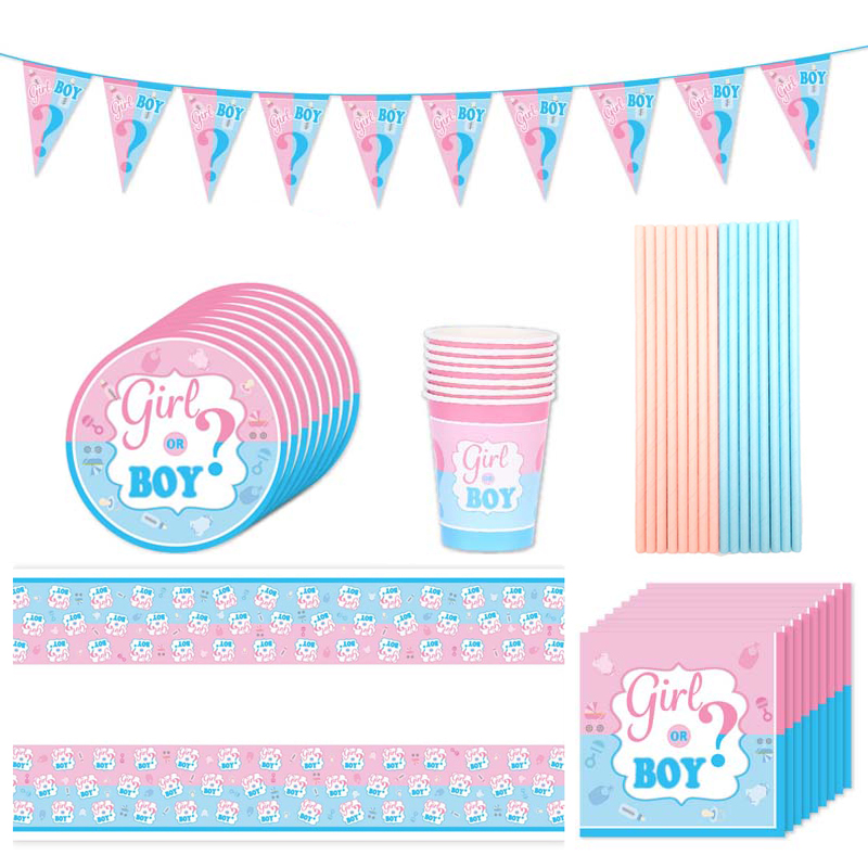 Boy Or Girl Disposable Tableware Gender Reveal Party Supplies Pink Blue Paper Plates Cups Baby Shower Kids Gender Reveal Favors