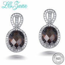 L& zuan, ювелирные изделия из стерлингового серебра, серьги 9.78ct, натуральный дымчатый кварц, Романтические Роскошные Висячие серьги для женщин, Рождественский подарок