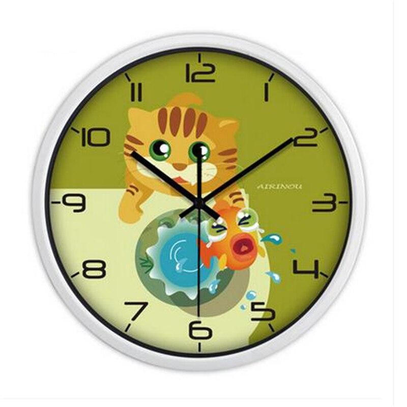 Cartoon Glass Wall Clock Modern Design Digital Mechanism Large ...