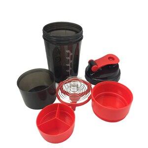 Image 2 - Creatieve Protein Poeder Shaker Fles Sport Fitness Mengen Wei eiwit Water Fles Sport Shaker Voor Gym Krachtige Lekvrij