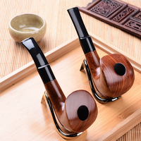 Manual Individuality Pipes Activated Carbon Double Filter Core Solid Wood Smoking Pipe Herb Tobacco Pipe Cigar