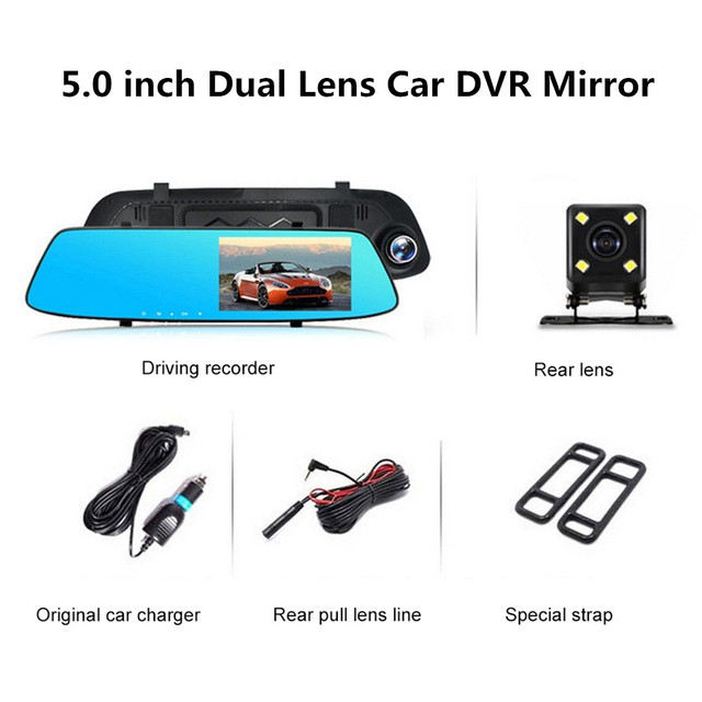 5,0 pulgadas 1080 P HD coche DVR espejo con cámara de visión trasera visión nocturna Auto conducción grabadora de vídeo coche Dash cámara