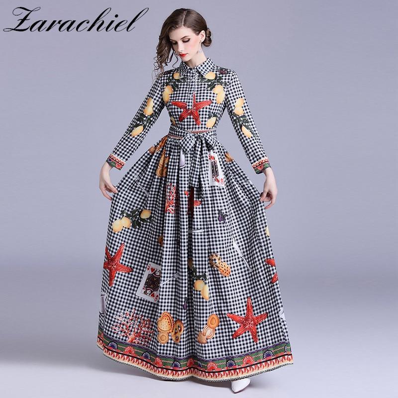 2019 Autumn Designer Starfish Playing Card Printing Runway Plaid Dress Women Long Sleeve Necktie Belt Big Swing Maxi Long Dress