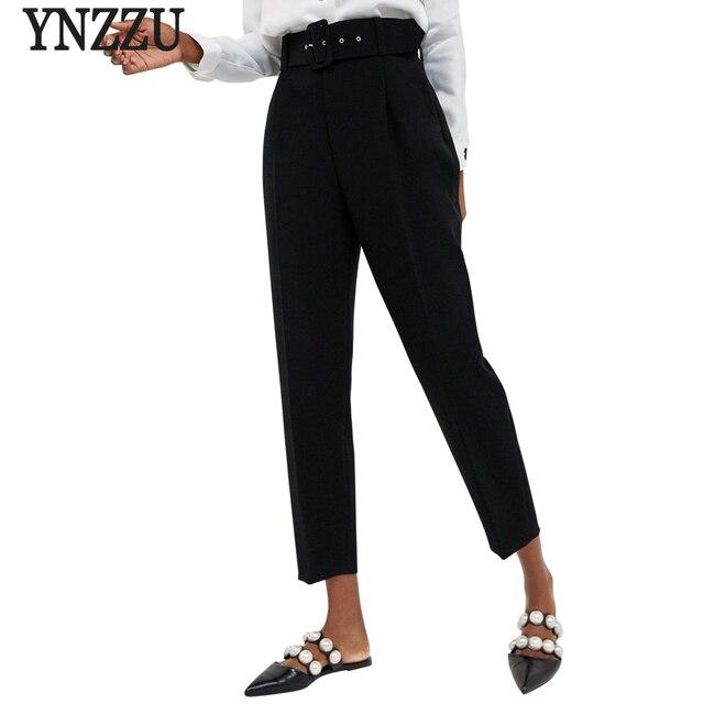 New Arrivals Casual Trousers for Women 2018 Autumn Black High Waist Long Female Harem Pants with Belt pantalon femme AB104
