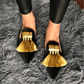Borlas artesanais Das Mulheres Chinelos de Verão Sandálias Gladiador Veludo Casuais Plana Sapatos Dedo Apontado Mulher Desliza Loafers Flats