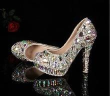 2016 Gorgeous And Fashion  high heel female lady's Women Bridal Wedding crystal rhinestone ShinyBridesmaid shoes