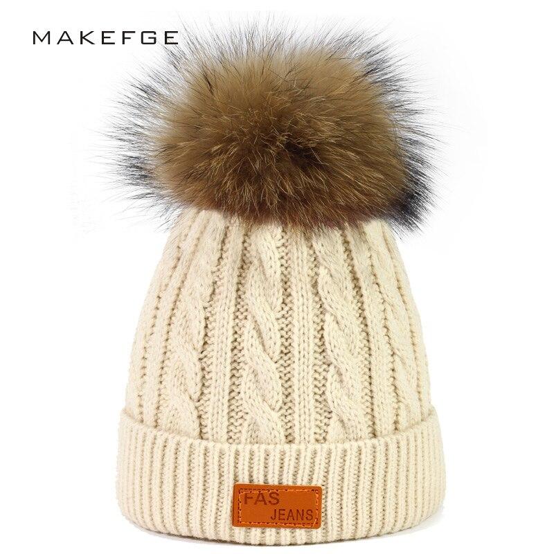 Brand skullies beanies for kids fur ball cap winter hats children kids boys girls pompom skullies beanies for kids pompom hat