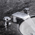 Бесплатная доставка  кран для ванной комнаты с водопадом  8 дюймов  3 широкий с отверстиями  раковина для туалета  медный смеситель для ванны  ...