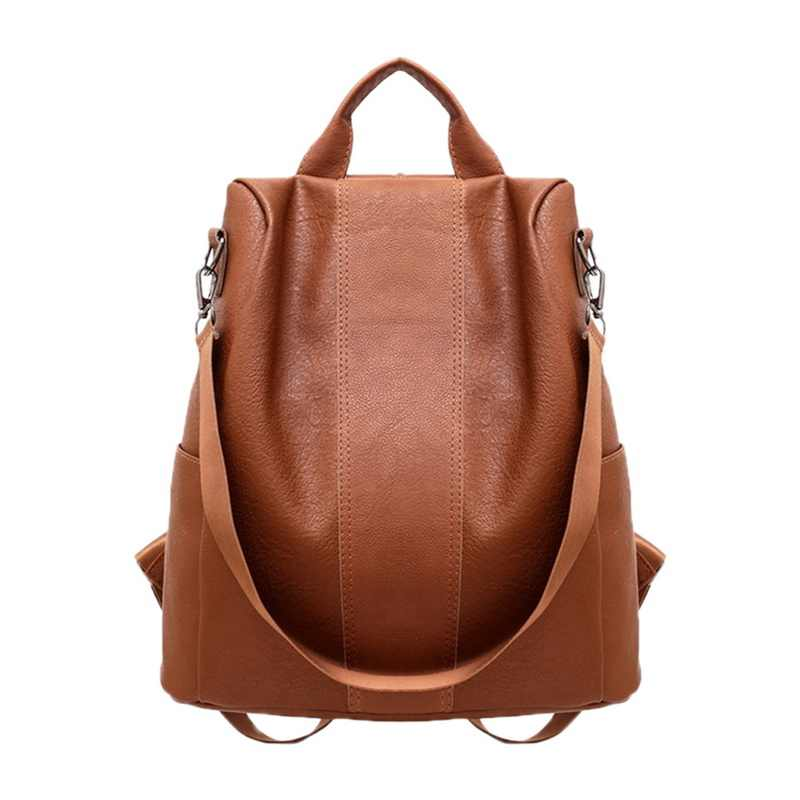 7b7defd6b432 SHUJIN Vintage Women Leather Backpack College Preppy School Bag For Student  Laptop Girls Ladies Daily Back