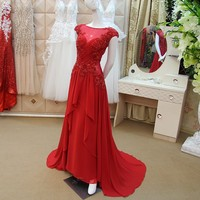 Custom Made A Line Chiffon Lace Beading Long Red Evening Dress Special Occasion Dresses Evening Gown