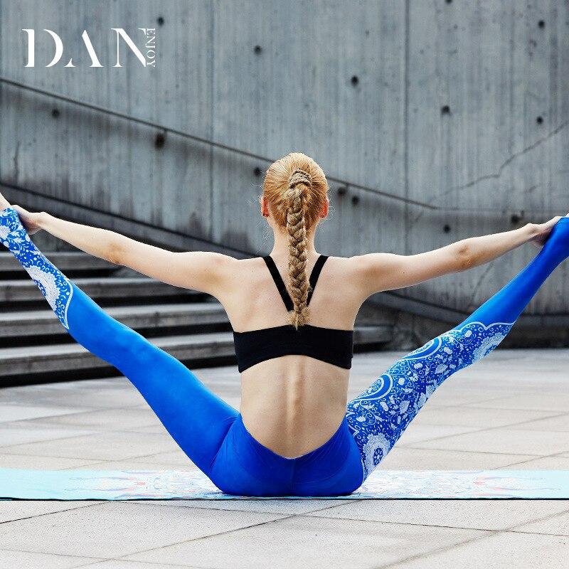 DANENJOY Women Flower Printed Yoga Leggings Sport Femme Compression Pants 2018 Women Tights Jogging Pantalon Yoga Seven Length