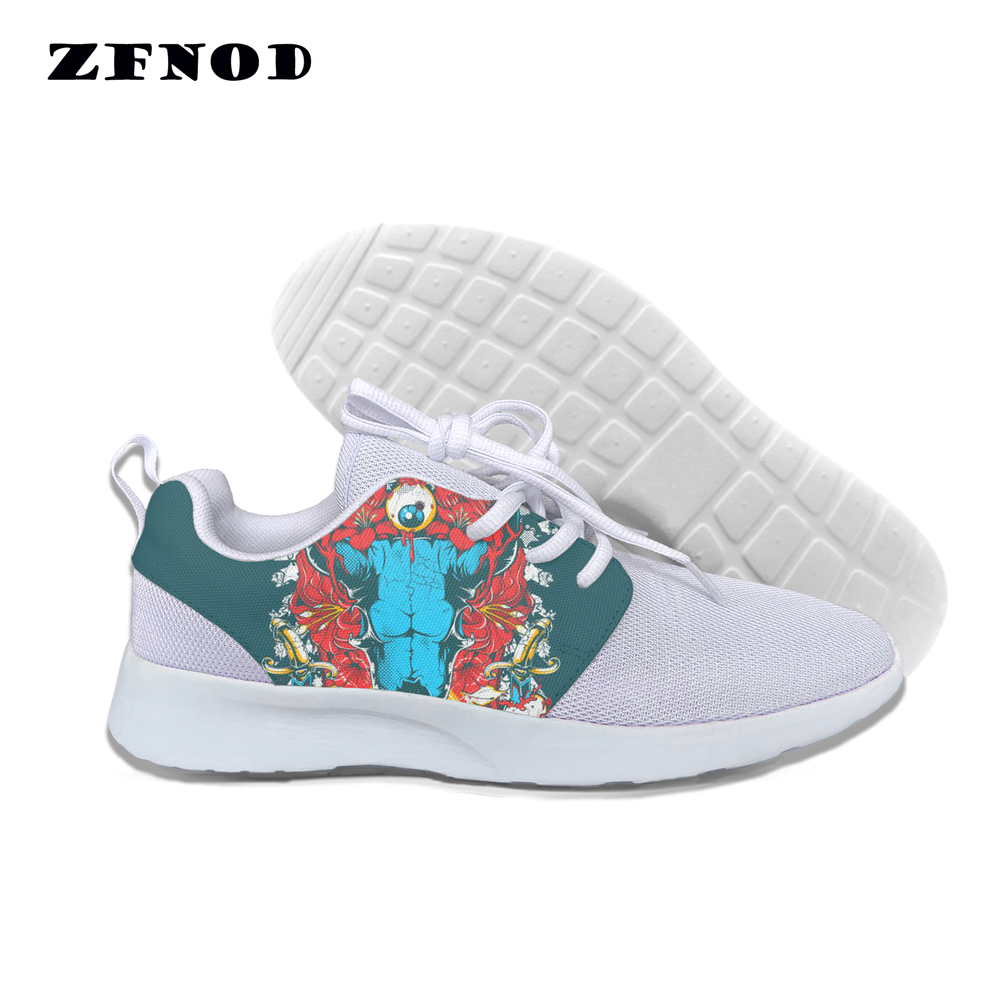 s Breathable Lace Up Flats Comfortable Women Mesh ShoesClassic Skull Print Sneaker Personalized Ladies Mesh Lace Up