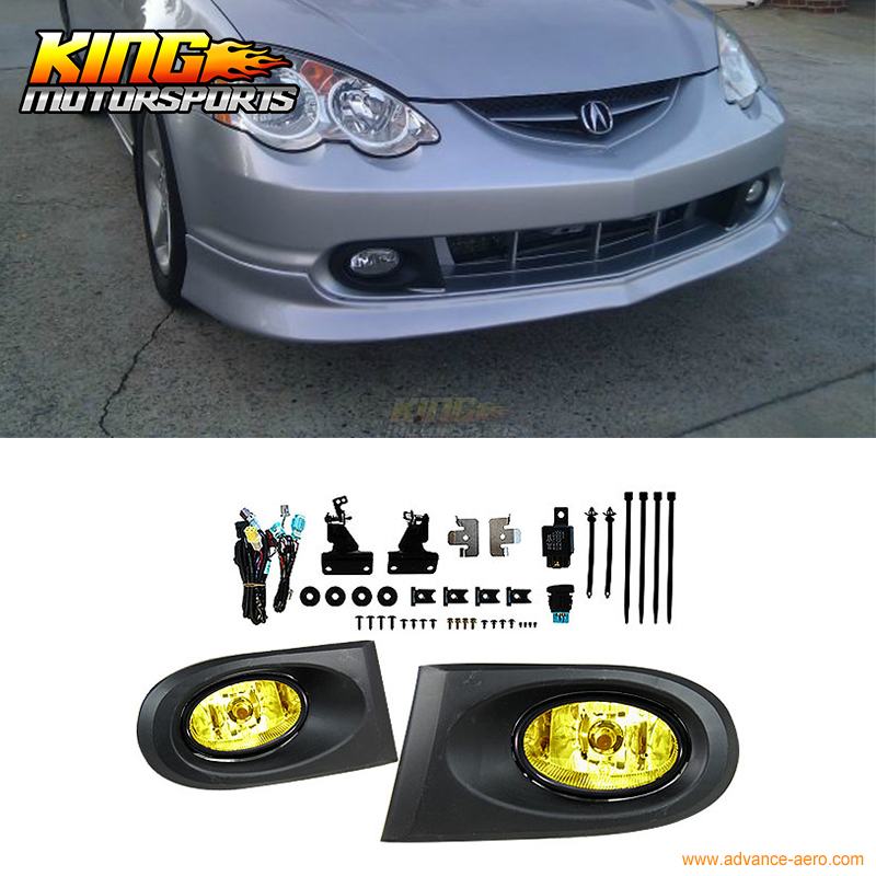 For 2002 2004 Acura RSX DC5 JDM Yellow Lens Bumper Fog