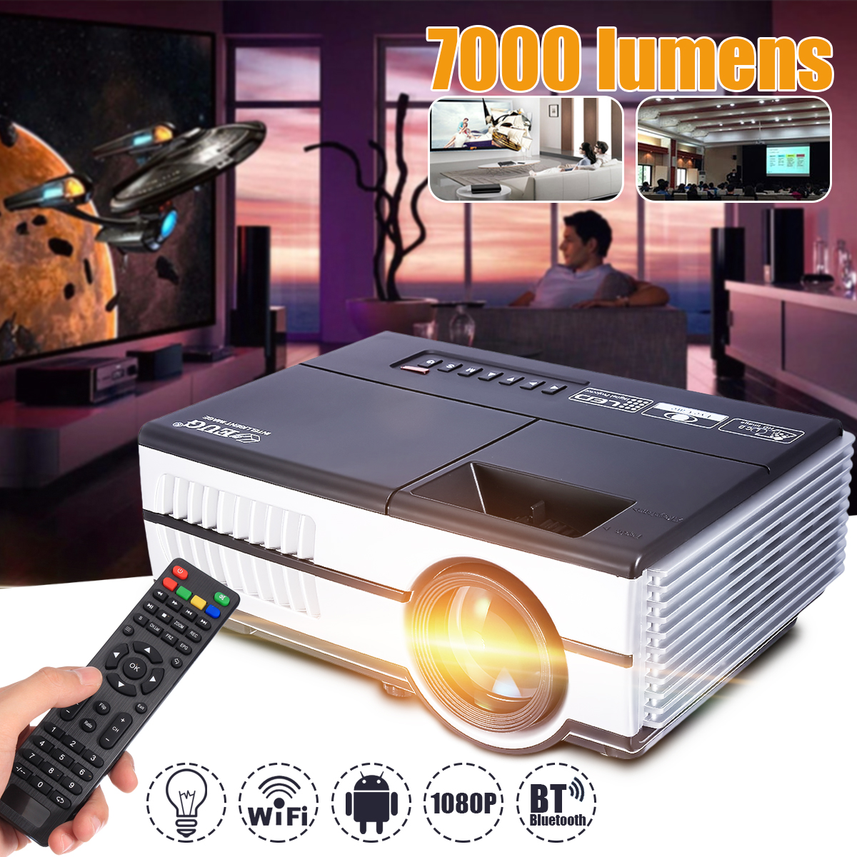 Max 7000Lumens 1080P Full HD LED Projector 3D Home Theater Cinema LCD Wireless HDMI AV/VGA/USB/SD/HDMI/TV Multimedia Beamer 1080p hd home cinema theater multimedia led projector av vga usb hdmi futural digital jull13