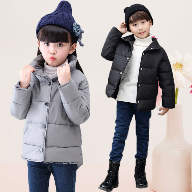2016 winter children's clothes boys girls padded coats solid thicken fleece baby down coats for boys girls kids outerwears