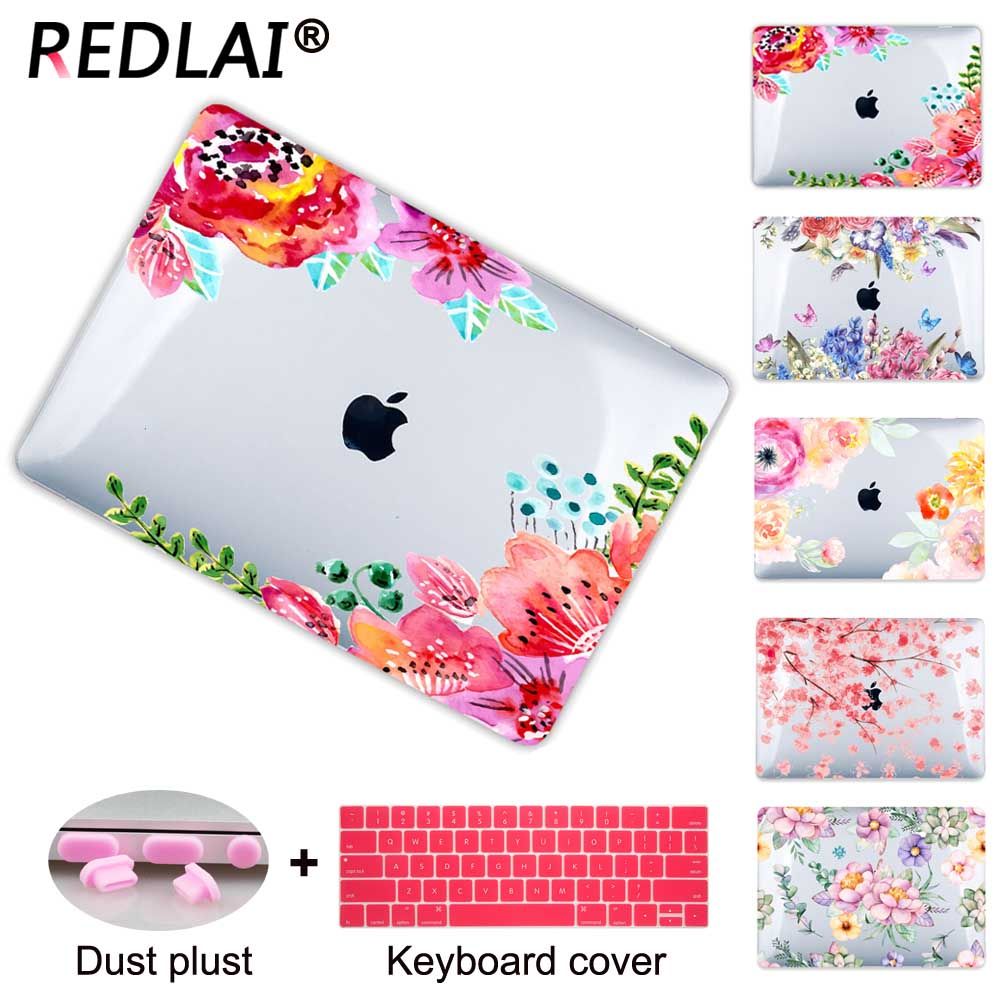 Redlai Crystal Hollow out Print Floral Hard Clear case For Macbook Air 13 inch Pro Retina 13 15 with Touch bar 2016 New light blue random floral print cut out playsuit
