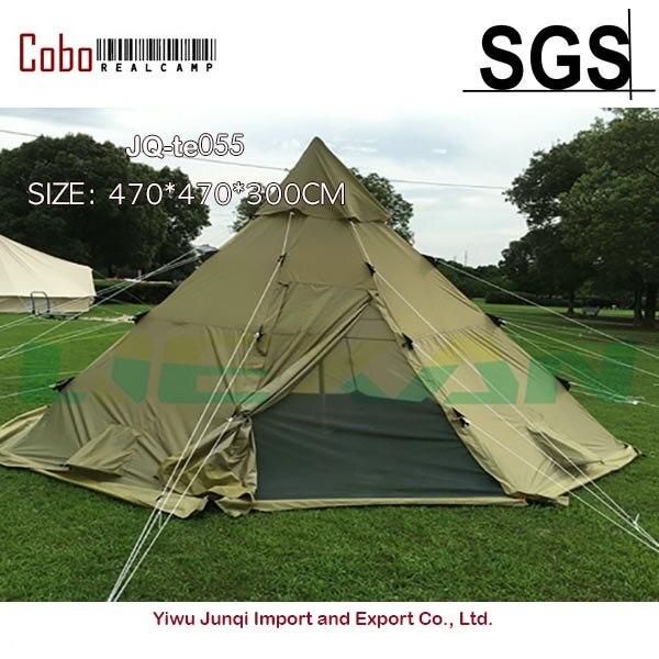 Tente de tipi d'hiver survie Camping Polyester Tee Pee portes grillagées Festivals été randonnée en plein air Olive