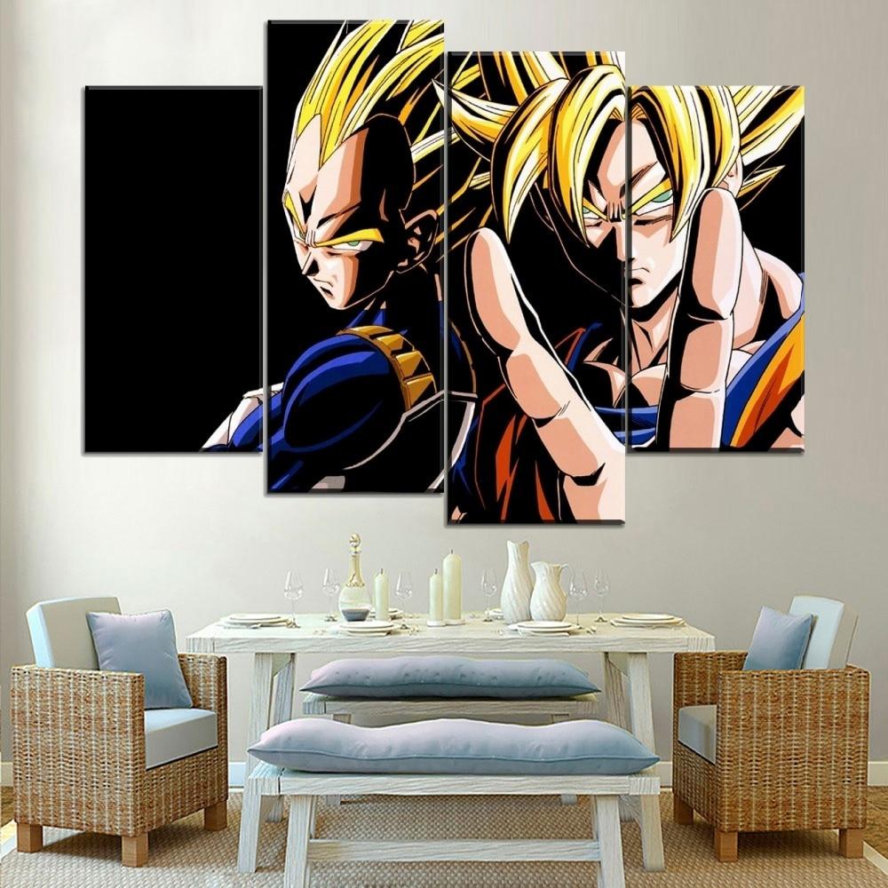 Modern Painting Canvas Art Print 4 Panel Dragon Ball Z Anime Painting Goku And Vegeta Wall Poster Decor Living Room Framework