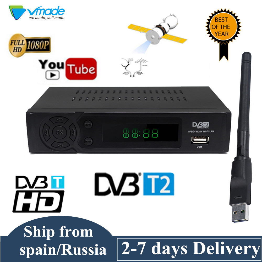 Full HD DVB T2 Digital Terrestrial receiver Support Youtube FTA 1080P RJ45 USB WIFi DVB T2