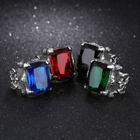 New Arrival Personality Titanium Steel Rings For Men Black Red Green Blue Color Punk Party Men
