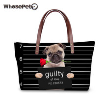 WHOSEPET Pugs Women's Bags Fashion Shoulder Bags Dog Roses High Quality Top-handle Tote Large Capacity Casual Handbags Black