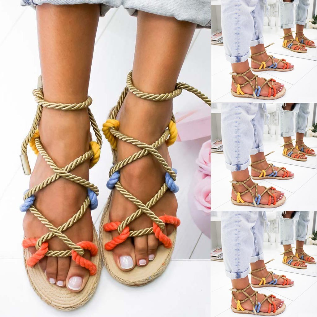 Rome women shoes Summer Slippers Hemp Rope Flat Lace Cross-tied Slippers Open Toe Sandals Sandalia Feminina chaussures femme(China)