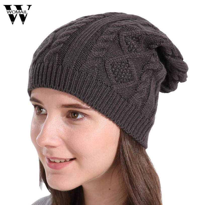 Knitted Winter Hats Women Men Cap Casual Baggy Beanies Skullies Bonnet Gorro 6 Colors New 2017 new lace beanies hats for women skullies baggy cap autumn winter russia designer skullies