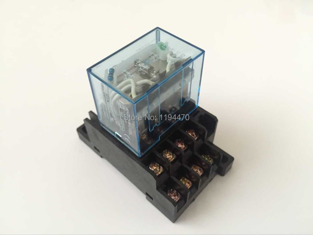 5 sets/Lot LY4NJ 12V DC Power Relay HH64P LY4N-J Miniature Relay 4PDT 4NO 4NC 14 Pins 10A 250VAC With PTF14A Socket Base 10 sets free shipping ly4nj hh64p dc12v 14pin 10a power relay coil 4pdt with ptf14a socket base