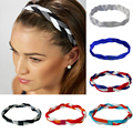 Softball Running Sports Braided Headbands Sweat Silicone Non Slip Grip Scrunchy Women Girl Soccer Yoga Elastic Hair Bands