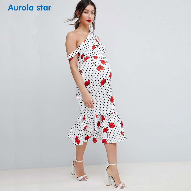 Photo shoot Dress Summer Maternity One-shoulder Dress For Pregnancy Women Clothes Baby shower Party Red Outside Ruffles Dresses photo shoot