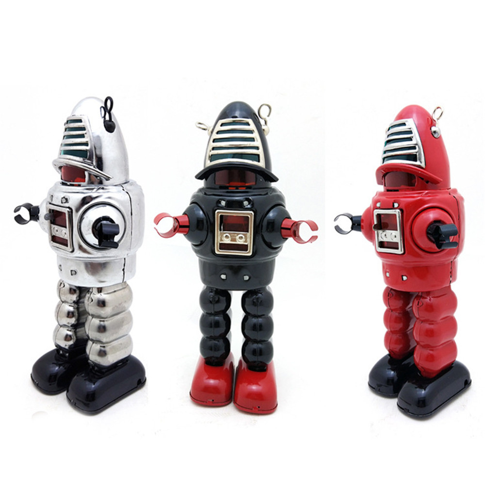 Classic Collectible Vintage Clockwork Wind Up Large Robot Photography Children Kids Tin Toys With Key Classic Toy Christmas Gift