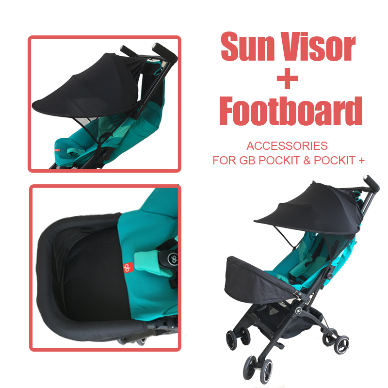 Stroller Accessories Extend Foot Board & Sun Shade For Goodbaby Pockit+ GB Pockit Stroller Foot Rest Rayshade Stroller Cover