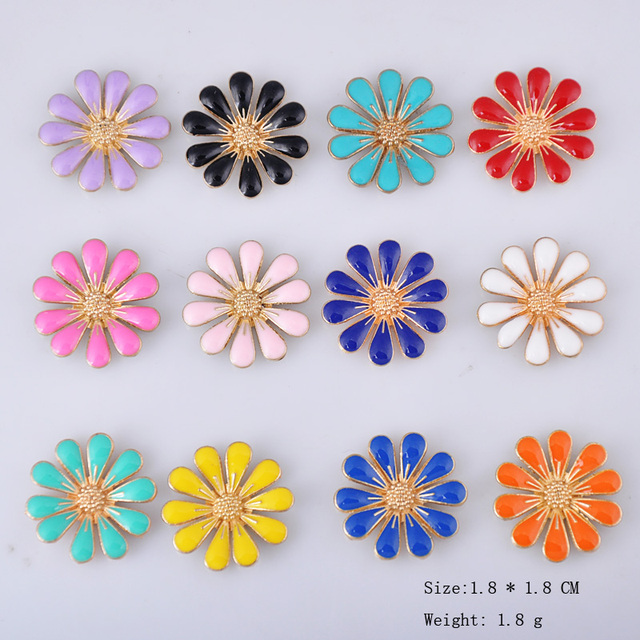 10pcs Enamel little Daisy charms children DIY hair material sun flower pendants girl, bride headdress alloy jewelry accessories