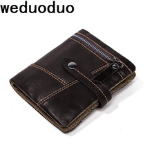 Weduoduo New Men Wallets Male Purse Genuine Leather Wallet with Coin Pocket Short Credit Card Holder