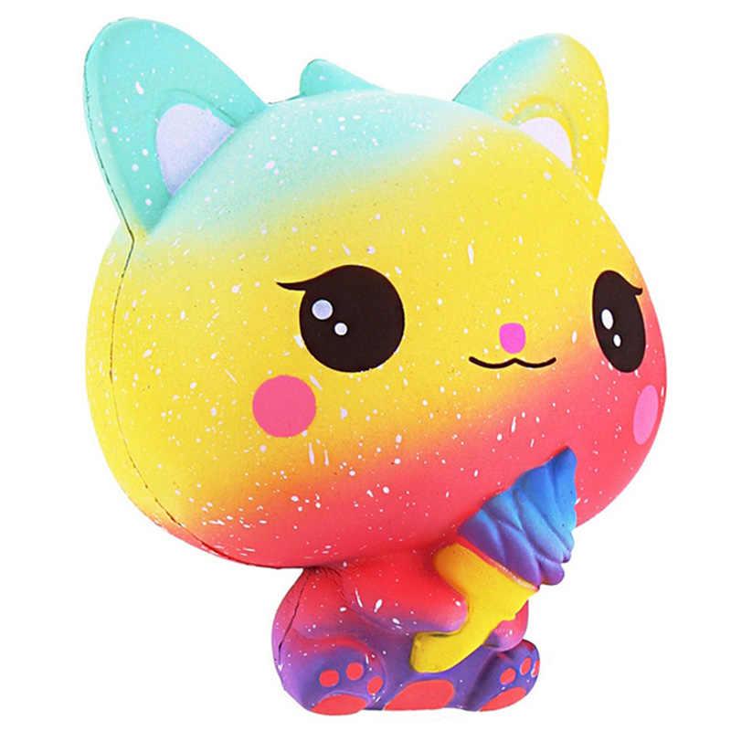 Jumbo Kawaii crème glacée chat Squishy PU Kitty poupée simulé parfum Animal lente montée doux presser jouets amusant pour enfant cadeau de noël