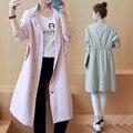 2016 Новая мода осень пальто длинный участок рыхлой случайные был тонкий женский пальто Девушки ветровка Топы