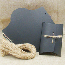 NEW Diy kraft/white/black pillow packing box 30pcs +30pcs string for candy /wedding /event gift stroage paper pillow box